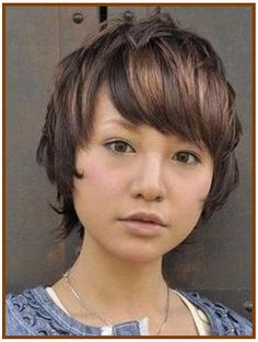 Short Hairstyles for Round Faces with Side Swept Bangs Hairstyles in Dark Brown Hair Color with Caramel Highlights