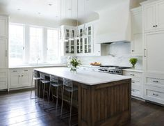 Love the tall windows over the cabinets