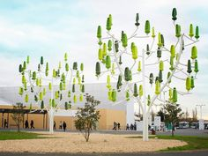 """A """"wind tree"""" installed at the COP21 climate talks in Paris. Each tree produces enough energy to light 71 parking spaces (or power one average American home for four months). (Courtesy New Wind)"""