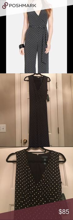 Lauren by Ralph Lauren Polka Dot Jumpsuit New with tags! Beautiful jumpsuit. This chic jumpsuit is black with pearl dots is an effortlessly elegant style for the office and post-work cocktails. 100% polyester. Lauren Ralph Lauren Pants Jumpsuits & Rompers