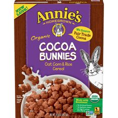 Our Organic Cocoa Bunnies Cereal is a scrumptious oat, corn and rice cereal with crunchy cocoa goodness packed into every bite. No artificial flavors. Cocoa Cereal, Rice Cereal, Whole Food Recipes, Dog Food Recipes, Organic Cereal, Oatmeal Squares, Breakfast Cereal, Corn Syrup, Natural Flavors