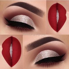 """2,906 Likes, 19 Comments - L U X Y L A S H (@luxylash) on Instagram: """"Perfect holiday glam #inspo! Glittery cut-crease & red lips by ✨@swetlanapetuhova✨! Absolutely…"""""""