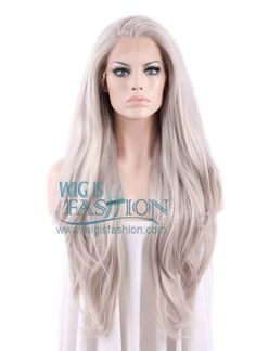 "Long Straight 18""-39"" Grey Blonde Lace Front Wig Heat Resistant"