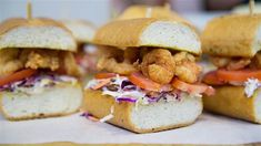 Upgrade shrimp po'boy sandwiches with homemade bacon coleslaw