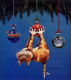 Funny Christmas cat illustration. Gary Patterson