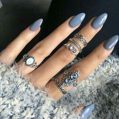 I may have pinned this one already but I just love this color blue and the almond shaped nails!  pinterest: @rosajoeperez