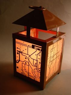 RECYCLED CIRCUIT BOARD Funky Repurposed Vintage Lantern Candle Holder  $29.50