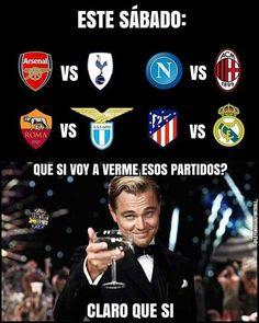 Que partidazos cual vas a ver? #premierleague #atleticodemadrid #arsenal #acmilan #realmadrid #tottenham #lazio #laliga #asroma #napoli #fcbarcelona