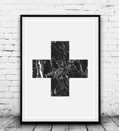 Minimalilst blac kand white cross print with marble texture, trendy, cool and chic! Dimensions available: 5 x 7 8 x 10 11 x 14 A4 201 x 297 mm
