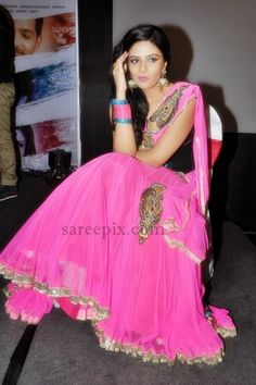 half saree in pink