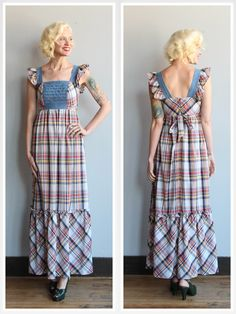 1970s Dress // Young Edwardian Plaid Maxi Dress by dethrosevintage