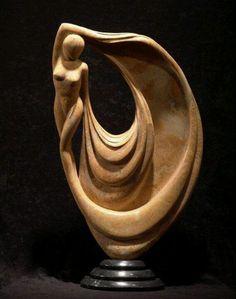 Drapery in Wood Human Sculpture, Stone Sculpture, Sculpture Clay, Abstract Sculpture, Wood Carving Art, Carving Designs, Wooden Art, Art Plastique, Stone Art