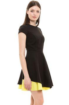Sukienka - Simple - czarna wieczorowa z żółtym spodem