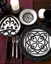 The Rialto Dinnerware collection is black & white Limoges porcelain with elegant, geometric patterns similar to mosaic tiles found in Spain.