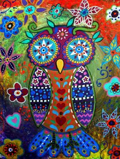 WHIMSICAL OWL MEXICAN FOLK ART PAINTING Art Print by Prisarts