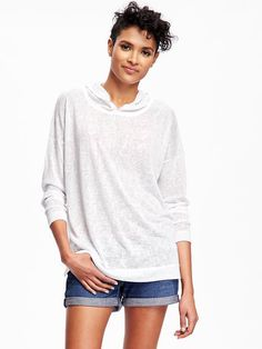 Relaxed Sweater-Knit Hoodie for Women