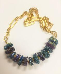 Rainbow Solar Quartz Slice Necklace by GinnyTaylorDesigns on Etsy