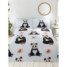 This Pandas Double Duvet Cover and Pillowcase Set features adorable pandas on a white background patterned with flowers and polka dots. Free UK delivery available