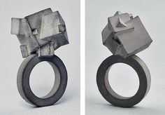 Mareike Kanafani's Brutalist Concrete Jewelry  love the chiseled concrete feel - very monolithic