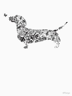 Dachshund Puppies Fabric or wallpaper behind (as the pattern) silhouette cutout on the front - would make great wall art! Dachshund Tattoo, Dachshund Breed, Dachshund Funny, Arte Dachshund, Dachshund Love, Clever Dog, Weenie Dogs, Doggies, German Shorthaired Pointer