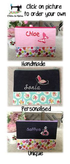 Handmade personalised fabric pouches.  Create your own.  Choose fabric,colour and embroidery design. Click on website to order https://www.etsy.com/listing/266984350/personalised-embroided-name-or-initials?ref=shop_home_active_19