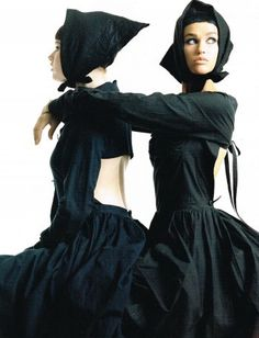 Comme des Garçons Ensemble, photographed by Steven Meisel for Vogue Italia, 1985 tag: Rei Kawakubo