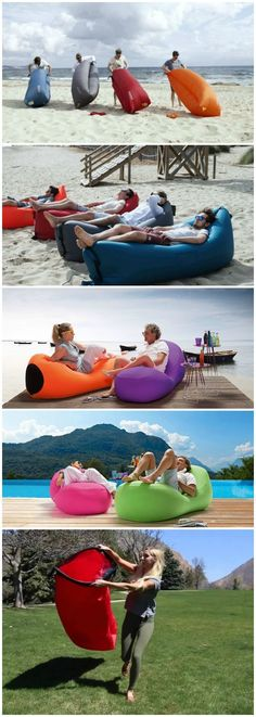 The Inflatable Lounger is super comfy, lightweight, portable lounge chair, that inflates within seconds. It's designed for ultimate relaxation. (Camping Hacks For Adults) Lampe Retro, Inflatable Kayak, Inflatable Chair, Cool Inventions, Outdoor Fun, Cool Gadgets, Camping Hacks, The Great Outdoors, Super