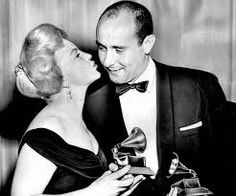 """Peggy Lee presents the Grammy for album of the year to Henry Mancini for """"Peter Gunn,"""" which also wins for best arrangement -- May, 1959 (Los Angeles Times) Henry Mancini, Beverly Hilton, The Beverly, Jazz, The Power Of Music, Duke Ellington, Ella Fitzgerald, Record Art, Album Of The Year"""
