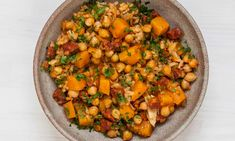 Claire Thomson's chickpea, butternut squash and chorizo baked rice.