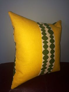 Scatter cushion. Printed green and natural linen by TheWeeMaker, £39.00