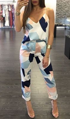 Details: Casual style Two pieces set Adjustable shoulder straps Material:Cotton,Polyester Regular wash We can ship items to any country! We accept Visa ,MasterCard and Paypal . SIZE(CM) US BUST Trousers Length Top Length S 2 88 96 58 M 4/6 92 98 59 L 8 96 100 60 XL 10/12 100 102 61