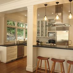 how to open kitchen/living room with support beams - Google Search