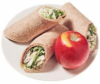 caesar turkey wrap  .....1 serving View Nutrition Facts  Ingredients        1  large (10-inch)  whole-grain tortilla      2.5  ounces  sliced turkey breast      1/2  cup  shredded romaine lettuce      1  tablespoon  Caesar salad dressing      1  small  apple    Directions    Make it: Fill tortilla with turkey, lettuce and dressing. Serve with apple
