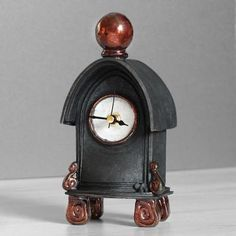 quirky ceramic mantel clock - small - charcoal with copper by ian roberts SDCC - Ian Roberts - iapetus Small Clock, Pottery Techniques, Jpg, Unusual Gifts, Original Art, Sculptures, Pottery Ideas, Copper, This Or That Questions