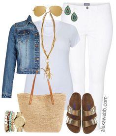 Plus Size White Jeans Outfit - Plus Size Fashion - alexawebb.com #alexawebb