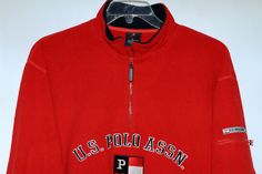 U.S. Polo Assn. Men's Long Sleeve Red Pullover Fleece Sweatshirt Size L  #USPoloAssn