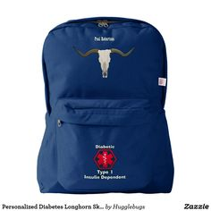 af829edec4 Personalized Diabetes Longhorn Skull Medi Alert Backpack