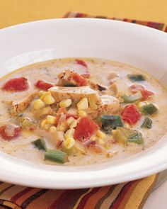 With a few fresh ingredients, including bell peppers and heavy cream, convenience foods and leftovers are transformed into this spicy, creamy corn chowder.