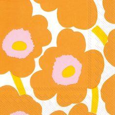 IHR Marimekko Unikko orange Floral Printed 3-Ply Paper Cocktail Beverage Napkins Wholesale C552617