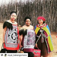 The Royal Courts Zulu Traditional Attire, African Traditional Wedding Dress, African Print Fashion, African Fashion Dresses, African Wear, African Dress, Seshweshwe Dresses, African Royalty, African Weddings
