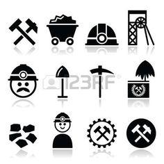 coal miner: Mina de carbón, establece iconos minero