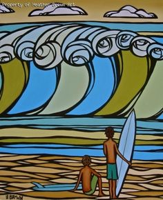 Surf Art by Heather Brown. Original art for the 4th annual 2011 Honolulu Surf Film Festival. Love this piece.