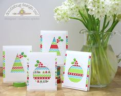 Christmas Cards *Doodlebug* - Scrapbook.com - Adorable set of Christmas cards. Use a cut our card front in the shape of a tree or ornament and back with strips of various washi tape.