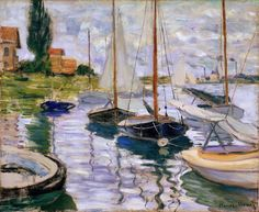 1872 / Claude Monet / Boats moored at Le Petit-Gennevilliers (Fine Art Museums of San Francisco)