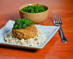 Red Lentil Burger with Kale Pesto