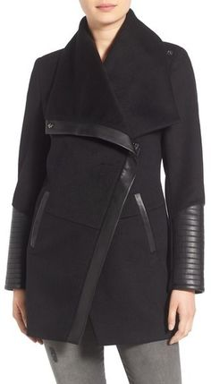 BCBGeneration Wool Blend Faux Leather Trim Jacket - $198.00