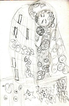 A quick sketch of Klimt's 'Kiss' at the Belvedere in Vienna.