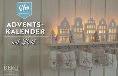 DIY: Adventskalender basteln mit süßen beleuchteten Mini-Häusern