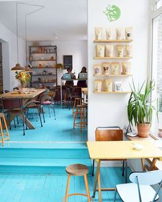 Rum Baba, a cool coffee hotspot in Amsterdam East. Love love love the turquoise floor! @hipaholic on Instagram