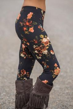 Rose & Blossom Floral Printed Legging (Black) - NanaMacs.com - 1